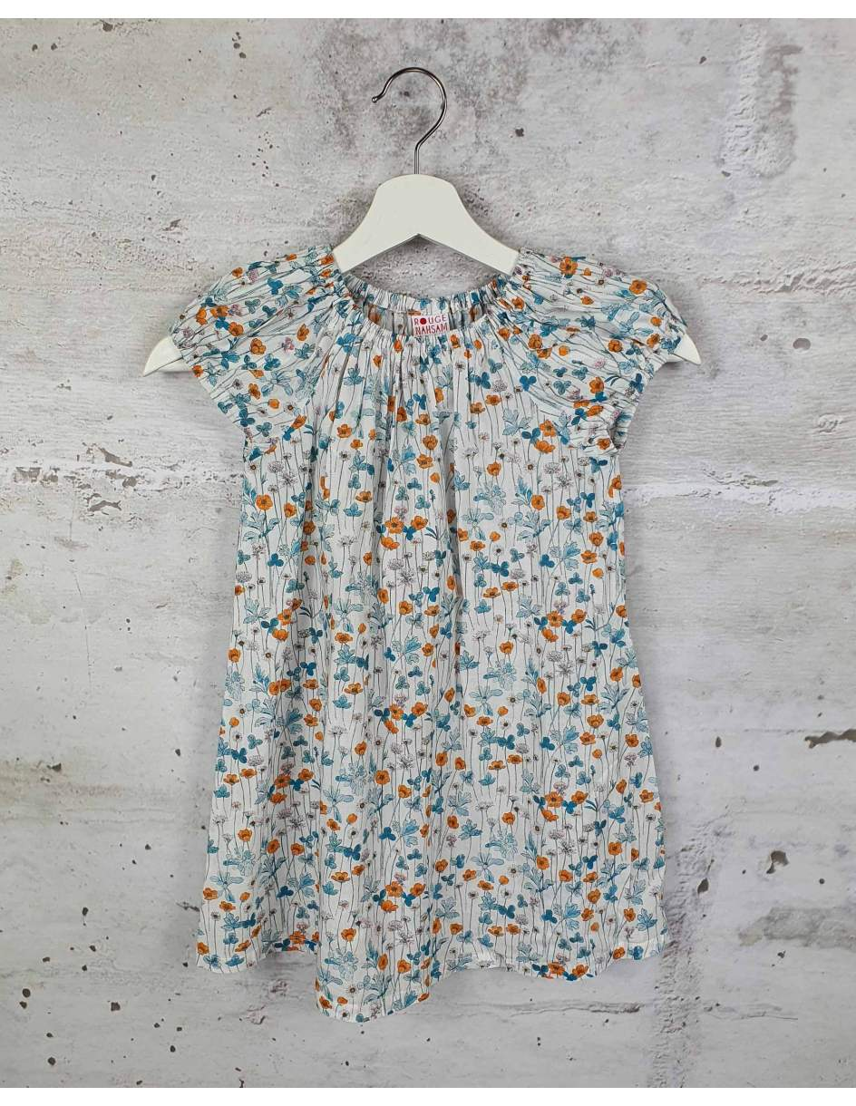 White dress with flowers Rouge Nahsam pre-owned