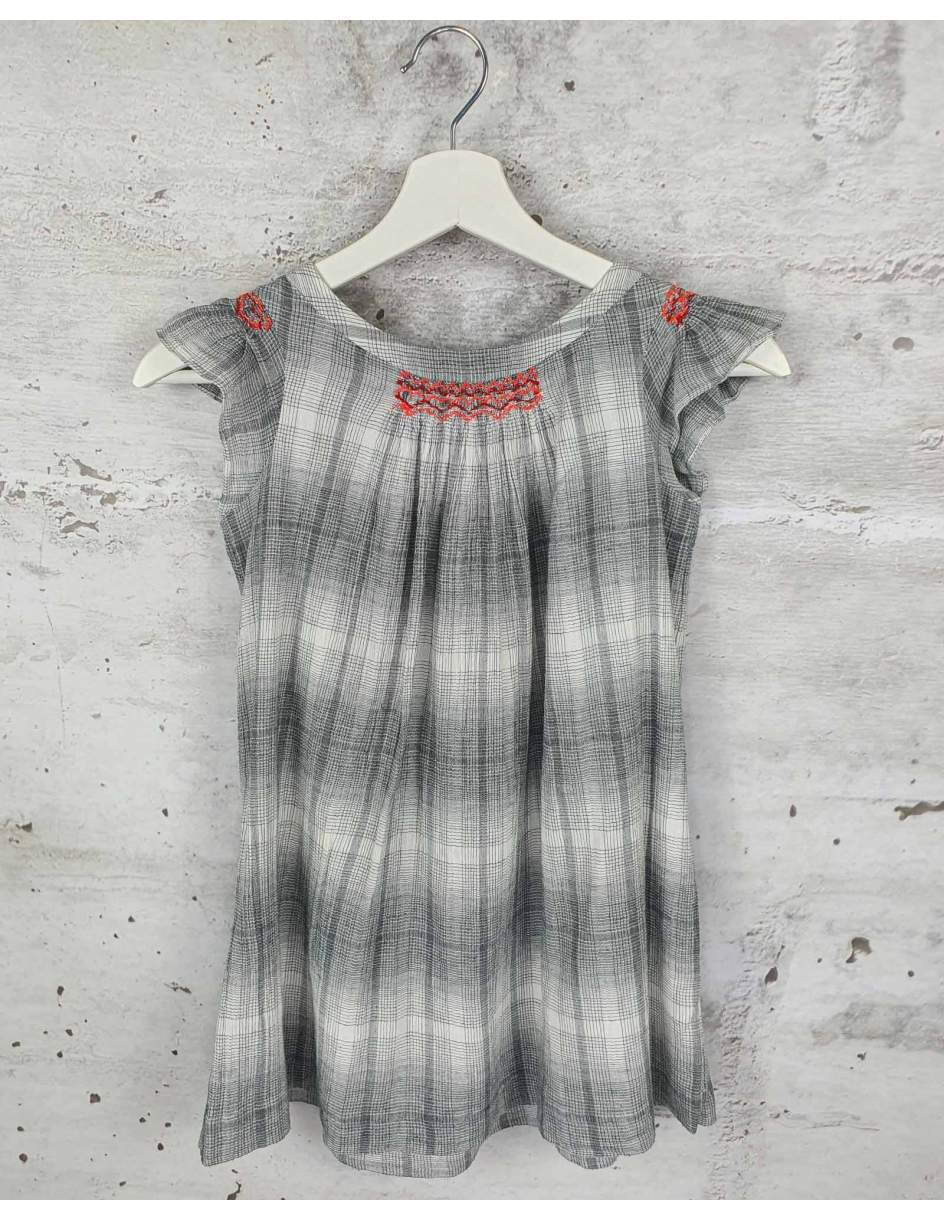 Gray plaid dress Bonpoint pre-owned