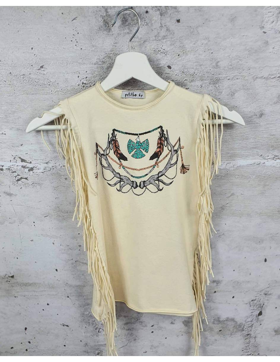 Beige blouse with fringes petitbo pre-owned