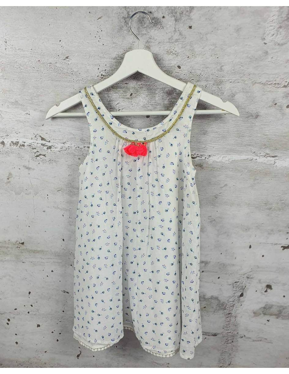 White dress with flowers Louise Misha pre-owned