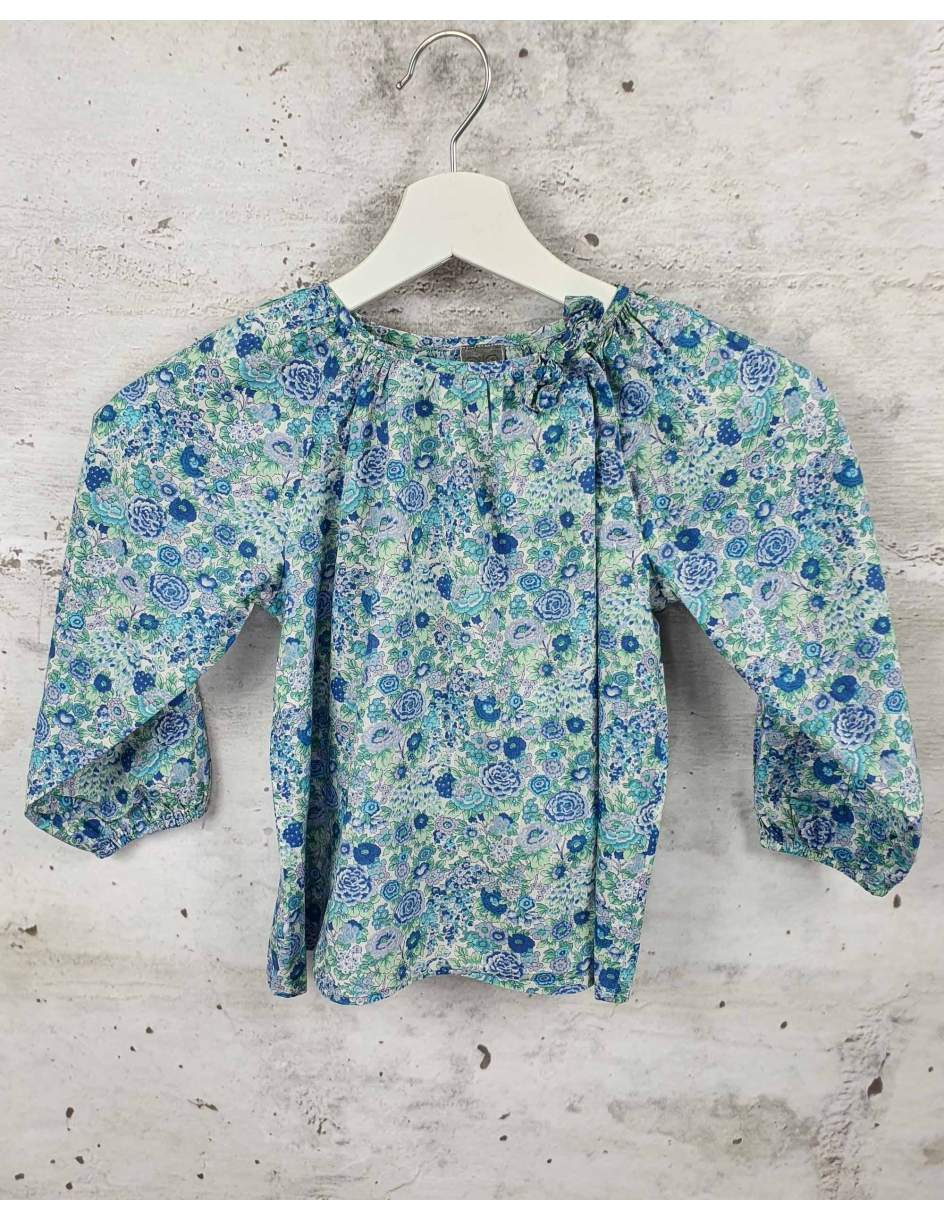 Blue blouse with flowers  pre-owned