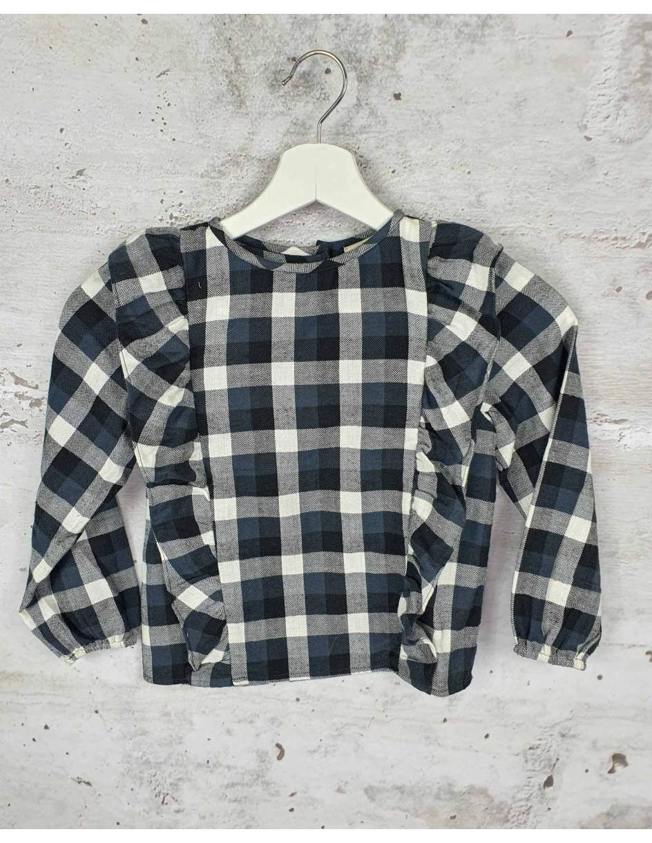 Dark blue checked blouse Louis Louise pre-owned