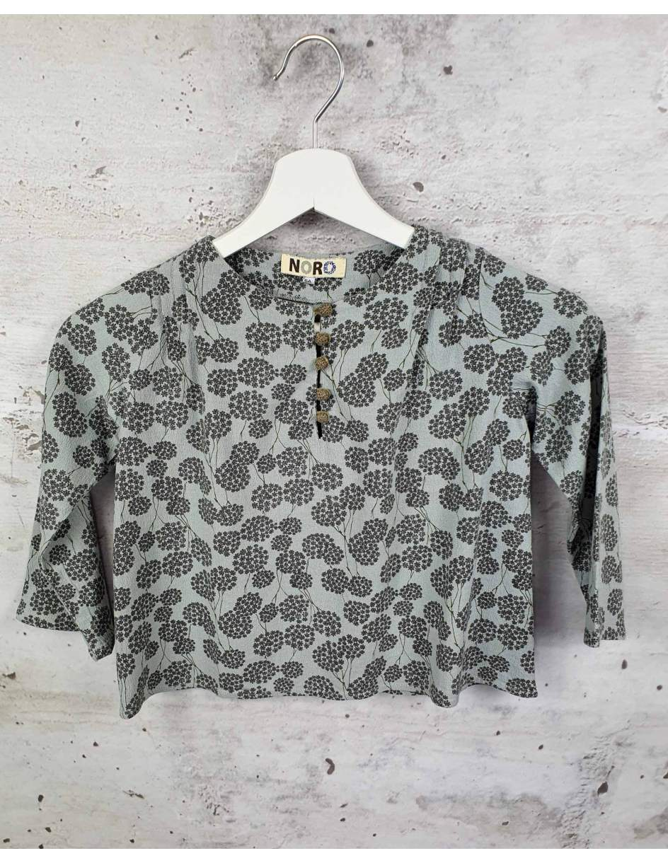 Gray blouse with flowers NORO pre-owned