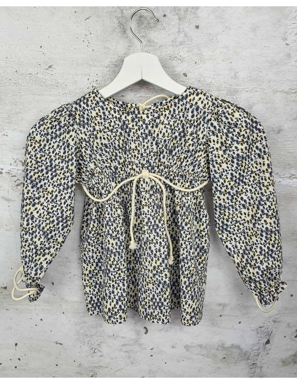 Beige blouse with flowers Talc pre-owned