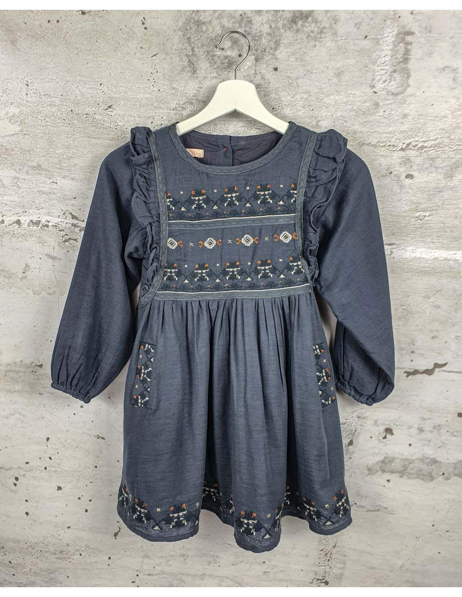 Gray embroidered dress Louise Misha pre-owned