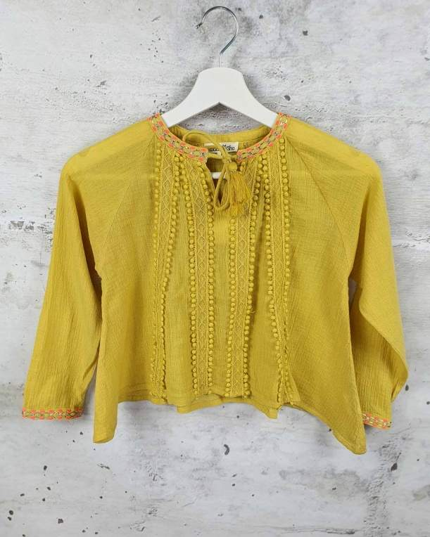 Mustard blouse with embroidery Louise Misha pre-owned