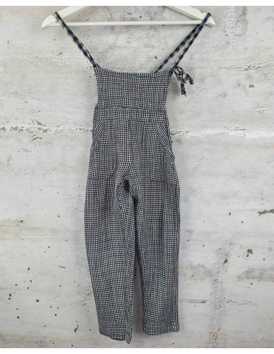 Checkered navy blue dungarees Emile et Ida pre-owned