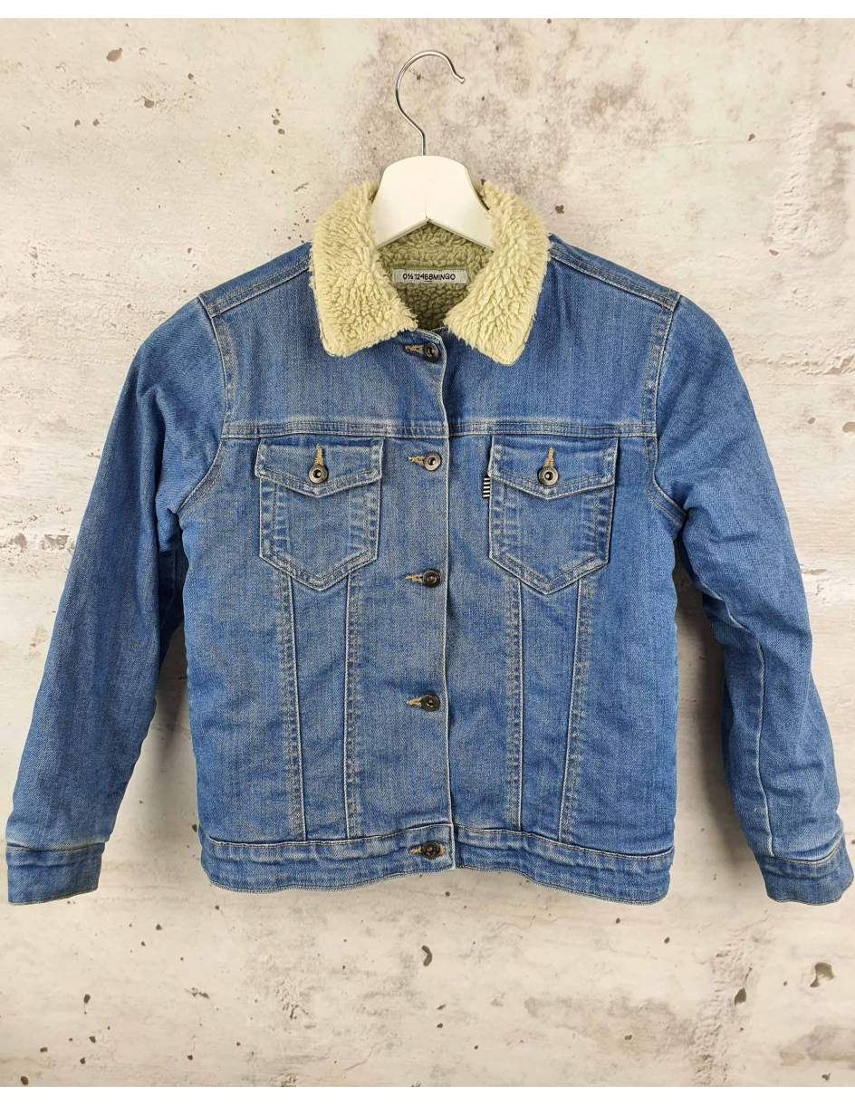 Denim jacket with fur MINGO. - 1